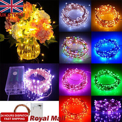 UK 20/30/100 LED Battery Micro Rice Wire Copper Fairy String Lights Party Xmas