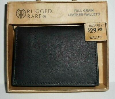 Mens Genuine Leather Dual ID Trifold Wallet Gift Boxed by Rugged Rare NEW