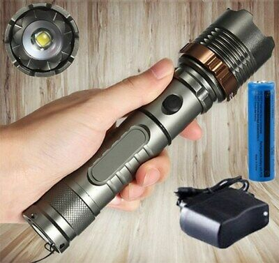 200000LM Rechargeable Camping LED Flashlight T6 LED Police Tactical Torch Lamp