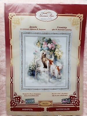 NEW lanarte style Counted Cross Stitch Kit Golden Fleece Friendship watercolor