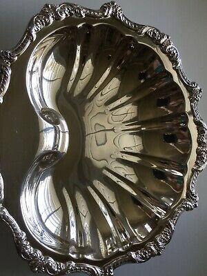 "Vintage Poole EPCA ""Old English"" # 5926 Silver Plated Shell Plater With 3 Feet"