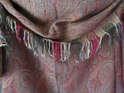 """Antique Paisley Shawl Estate Victorian Wool Wrap Fringed RED PAISLEY 66x70"""""""