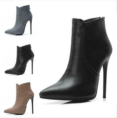Women Sexy Stiletto High Heels Pointy Toe Back Zip Ankle Boots Nightclub Shoes