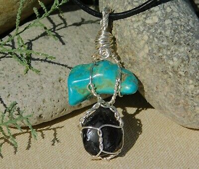 Turquoise Nugget and Apache Tear Silver Pendant and Necklace by Solara Solstice