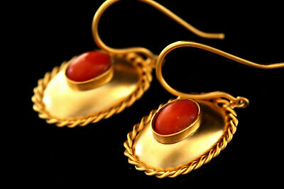 Beautiful Ancient Roman Replica Solid Gold Earrings Antique Natural Coral