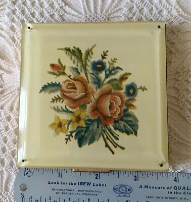 Compact Rex 5th Ave w Faux Floral Tapestry Front & Etched Back Vintage 1930/40's