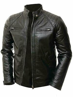Men's Vintage Cafe Racer Retro Biker Shade Quilted Padded Wax Leather Jacket