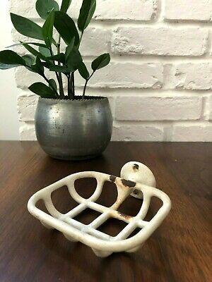 Antique PORCELAIN & CAST METAL Wall Mount SOAP DISH Holder VINTAGE White SHABBY
