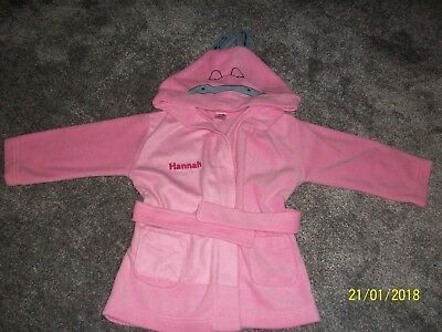 Girls Pink Animal Dressing Gown with Hannah printed on front Age 2 - 3 years