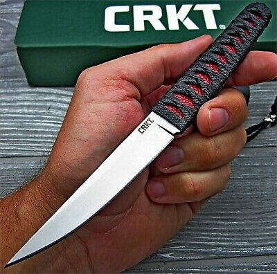CRKT Obake Red Rayskin Black Cord Wrapped 8Cr14MoV Fixed Blade Tactical Knife