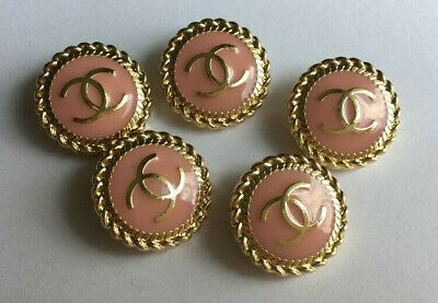 Set of 5 Chanel buttons in pink 19mm, stamped