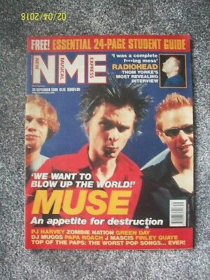 NME New Musical Express 30 September 2000 MUSE RADIOHEAD PJ Harvey Zombie Nation