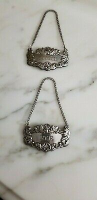 Pair (2) - Vintage Sterling Silver Liquor/Decanter Bottle Tags - Scotch & Rye