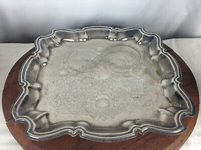"""Vintage LB Square Silverplated Footed Platter Tray 16.5"""" #WH-6"""