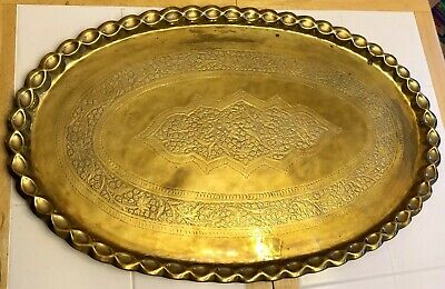 "Large 35"" Antique/Vtg Oval Solid Brass Embossed Tray Table Top Wall Plaque 9 Lbs"