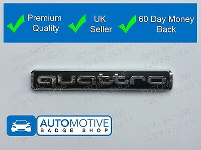Audi Quattro Rear Boot Trunk Badge Emblem Black