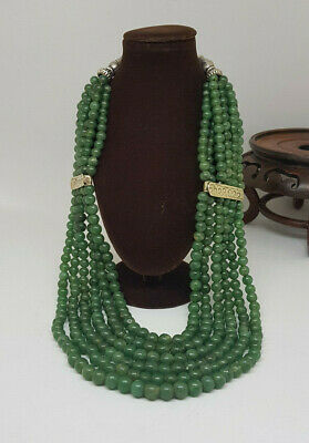 Antique Chinese Export Jade & Solid Silver Necklace 210 G.