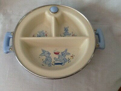 """Vintage Excello Chromium Divided Warming Dish Bowl for Baby w/ Blue Handles 10"""""""