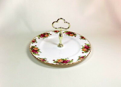 "Royal Albert ""Old Country Roses""  10.5"" Round Serving Plate with Handle England"