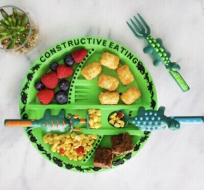 Dinosaur Cutlery And Plate Set By Constructive Eating.