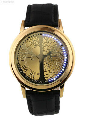 Life Tree Quartz for Lovers Touch Watch Fashion Gold+Gold Dial Gifts Wristwatch