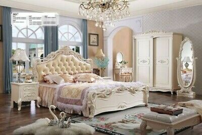 Classic Bed Baroque Rococo Chesterfield Style Double Leather Hotel Antique Beds