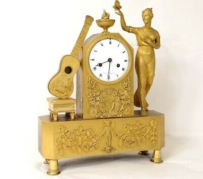 Pendulum Bronze Golden Woman Vestal Butterfly Guitar Leroy Empire Clock Xixè