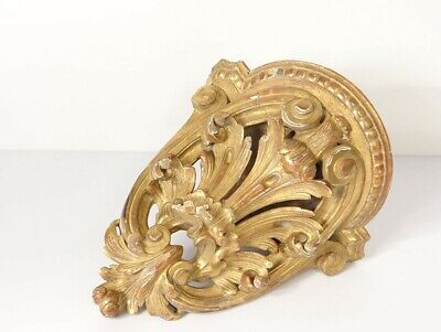 Console D'Applique Wall Wood Carved Golden Sheet Acanthus 19th