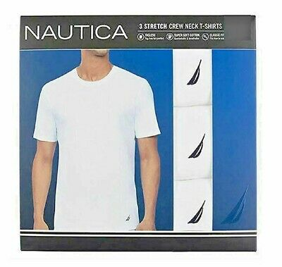 Nautica Stretch Super Soft Men's Tagless Crew Neck T-Shirts, 3 Pack - S M L XL
