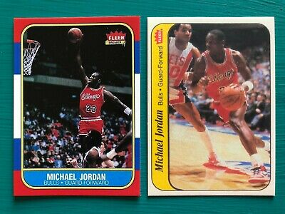 1986-1987 Fleer Michael Jordan Basketball Reprint Rookie Card & Sticker Lot MINT