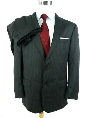 Jos.A.Bank  Men Suit US 42R Signature Collection Grey Pinstripe 2-Btn Pleat Cuff