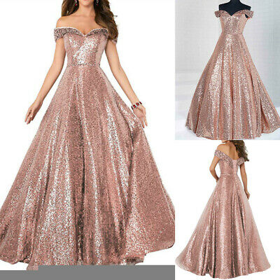 Rose Gold Off The Shoulder Prom Dress Long Sequin Shiny Evening Party Gown