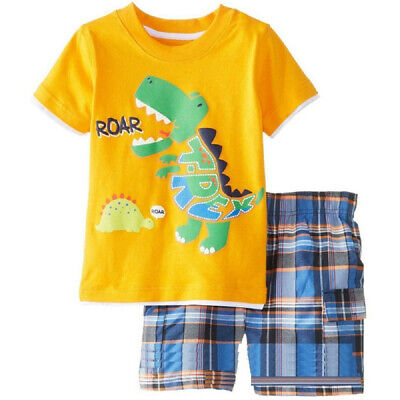 Dino Baby Boy's Clothes Suit Summer Pajamas T-Shirt Panties 2-Pieces Sets Cotton