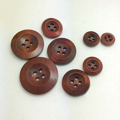 50Pcs 4 Holes Solid Color Buttons Round Wooden For Hat Clothing DIY Sewing Craft
