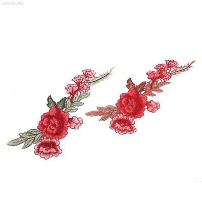 2Pcs Rose Flower Leaves Embroidery Patches Clothing Sew Clothes Applique DIY