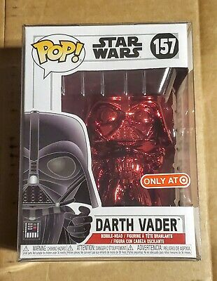 Funko Pop Darth Vader Red Chrome #157 Star Wars Exclusive w/ Pop Protector Mint