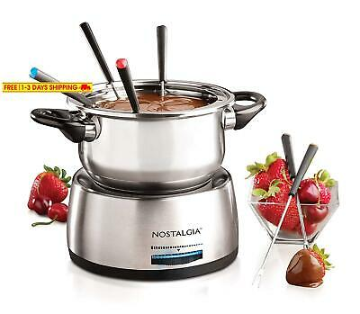 Nostalgia Fps200 6-Cup Stainless Steel Electric Fondue Pot With Temperature Cont