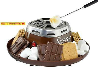 Nostalgia Smm200 Indoor Electric Stainless Steel S'Mores Maker With 4 Compartmen