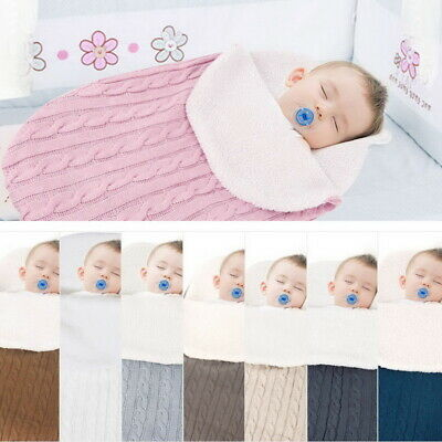 AU Newborn Baby Infant Knit Swaddle Wrap Swaddling Blanket Warm Sleeping Bag Hot