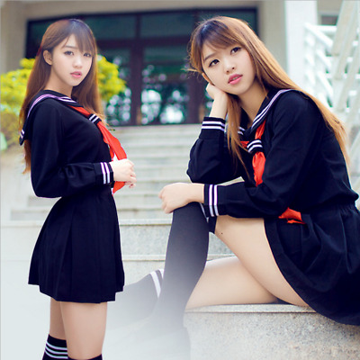 Cosplay Japanese School Girl Students Sailor Uniform Sexy Anime Costume Skirt
