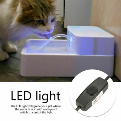 Automatic Electric Pet Water Fountain Dog Cat 1.8 L Drinking Bowl With LED Light