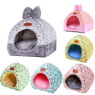 Foldable Small Pet Dog Bownot Bed Comfy Triangle Puppy Cat Kennel Cave House AU
