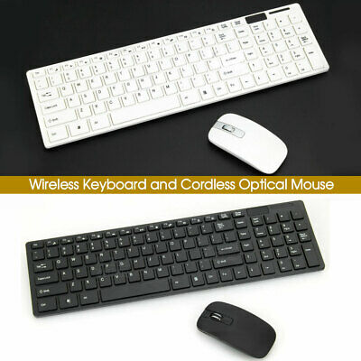 Cordless Optical Mouse and Wireless Keyboard for PC Laptop Win7/8/10 B & W Slim