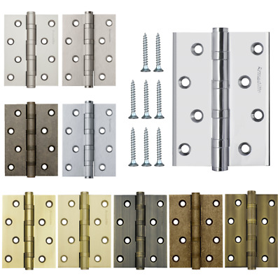 Solid Brass Door Butt Hinges with 4 Ball Bearings, 4 x 3 in, 10 Colors of Finish
