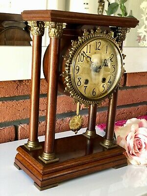A Very Large Antique Dutch Pillar , Portico , Mantel Shelft Bracket Clock