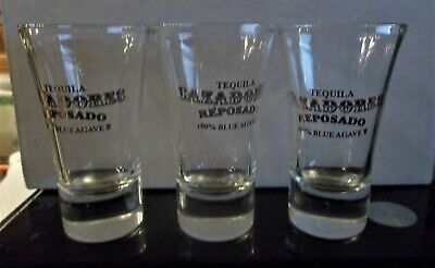 Cazadores Tequila shot glasses set of 3 Gold lettering