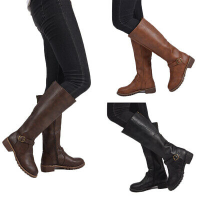 Womens Knee High Riding Boots Ladies Low Heel Buckle Zip Up Leather Shoes Size