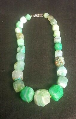 Signed LUC Dyed Green Stone (Quartz?) Chunk Necklace w/Sterling Silver Clasp 19""