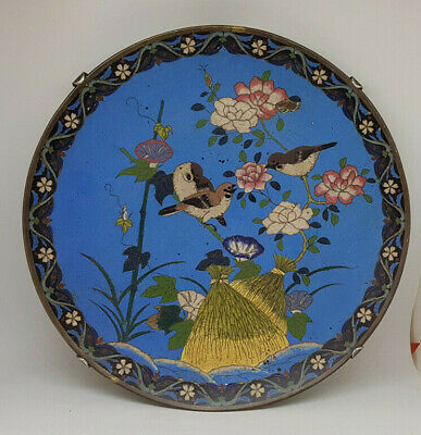 Beautiful Antique Chinese Cloisonne Large Plate With Birds Qing Dynasty