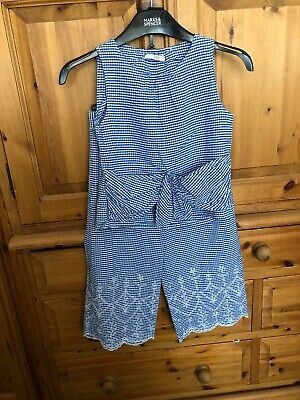 M&S Girls Blue Gingham Check Matching Co Ord Suit Outfit Age 7-8